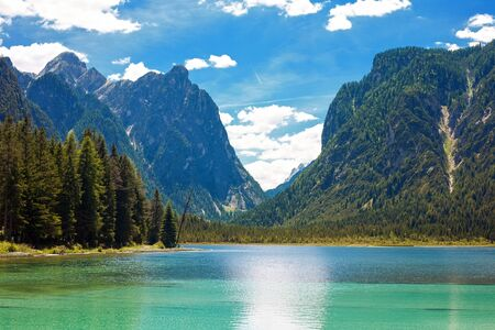 dolomite: Lake Dobbiaco (Toblacher see) in the Dolomite Mountains, Italy