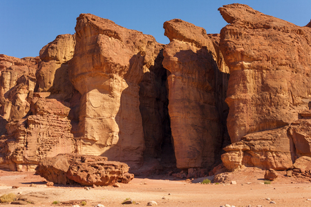 timna: The Famous Solomons Pillars - Sandstone geological attraction in Timna Park near to Eilat, Israel.