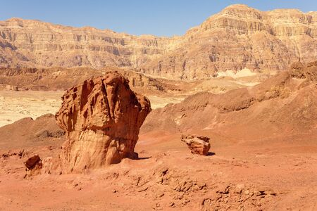 timna: The Mushroom and the Half - Sandstone geological features in Timna National Park near to Eilat, Israel