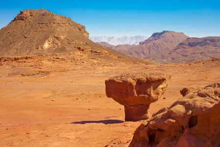 timna: The ??Mushroom? Sandstone in Negev Desert, Timna Park near to Eilat in Israel. Stock Photo