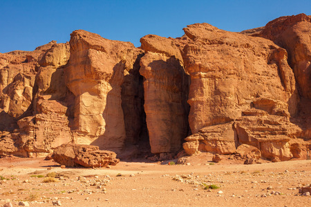 arava: The Famous Solomons Pillars geological and historical place in Timna Park near to Eilat, Israel. Stock Photo