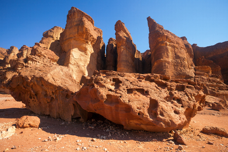 timna: The Solomons Pillars - Sandstone geological features in Timna Park near to Eilat, Israel.