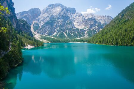 sudtirol: Lake Braies in the Dolomites with the Seekofel mountain in the background, Sudtirol,Italy