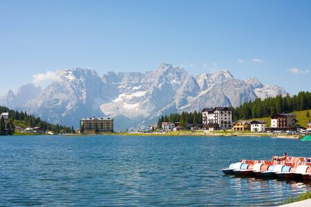 lake misurina: Lake Misurina tourist centrum in the Dolomites in Italy. Stock Photo