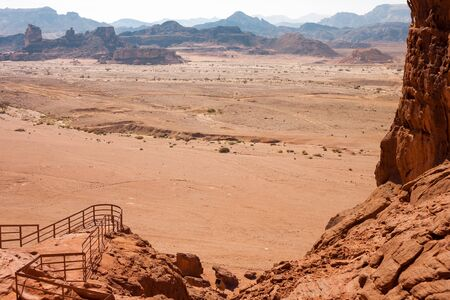 timna: Panoramic view from the Solomons Pillars geological formation near to Eilat, Israel Stock Photo