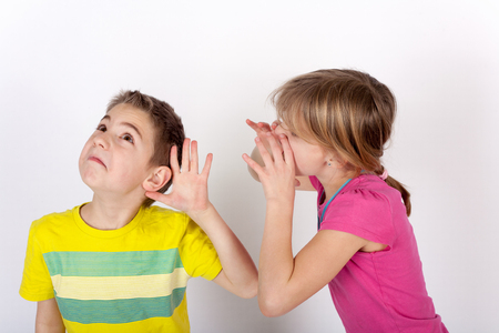 cant: Small boy cant hear his sister.