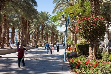 eilat: Eilat, Israel - February 11, 2016: Promenade at the beach In Eilat. Eilat is a famous recreation city in Israel. Editorial