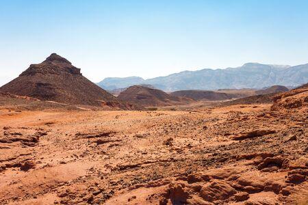 eilat: Mars-like landscape in the Negev Desert near to Eilat (Timna Park, Israel) Stock Photo
