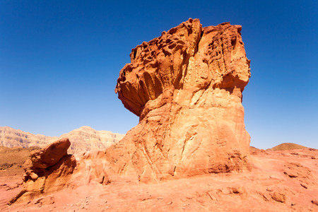 geological feature: Sandstone mushroom - geological feature in Timna park near to Eilat, Israel Stock Photo