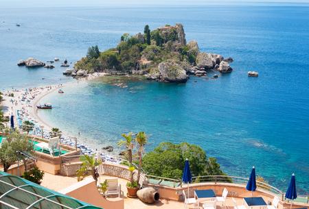 bella: View of Isola Bella island in Taormina