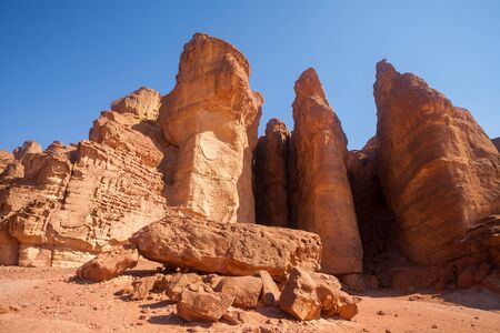 king solomon: The famous Solomons Pillars sandstone attraction in Timna National Park, Israel Stock Photo