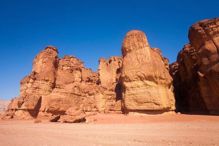 israel: The Solomons Pillars Geological feature from Timna Park, Israel Stock Photo