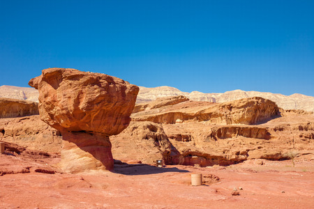 feature: The Mushroom geological feature i Timna Park, Israel Stock Photo