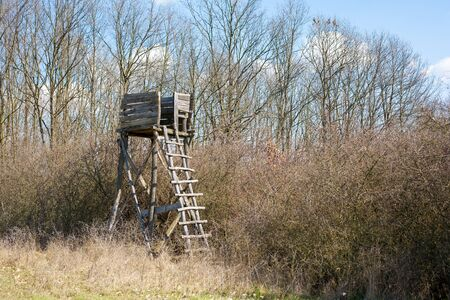 hunter's cabin: Hunters tower Stock Photo