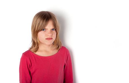 grumpy: Grumpy girl wearing red cloth looking very angry