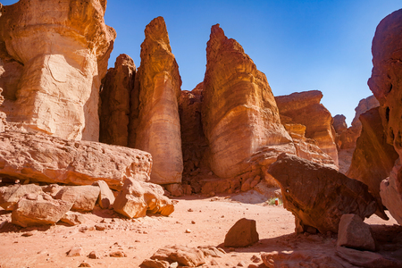 timna: The Famous Solomons Pillars geological and historical place in Timna Park near to Eilat, Israel. Stock Photo