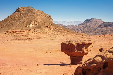 timna: The Mushroom Sandstone cliff in Timna Park, Israel Stock Photo