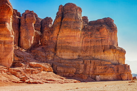canyon negev: The Solomons Pillars geological and historical place in Timna Park near to Eilat, Israel. The first copper mines in the history and the Hathor temple were here.