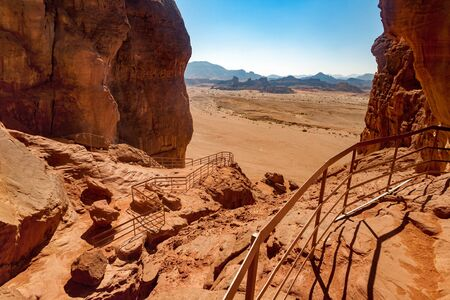 timna: On the top of the Solomons Pillars geological attraction in Timna Park near to Eilat, Israel.