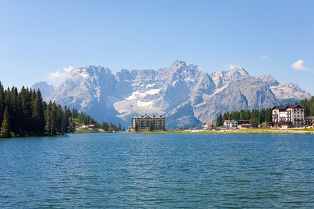lake misurina: Lake Misurina tourist centrum in the Dolomite Mountains, Italy.