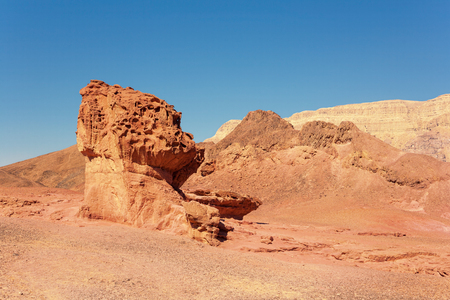 timna: The Mushroom and the Half - Sandstone geological attraction in Timna Park, Israel Stock Photo