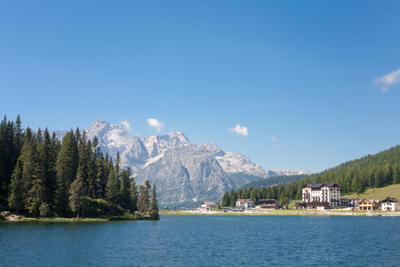 lake misurina: Lake Misurina with tourist complexes in Italy
