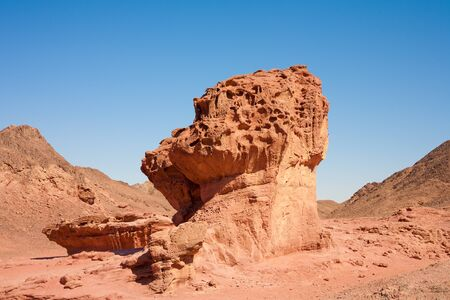 timna: The Mushroom and the half sandstones in the Negev desert, Timna park, Israel Stock Photo