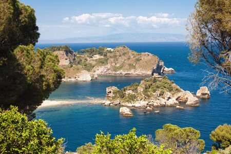 taormina: The Isola Bella island and beach in Taormina, Italy Editorial