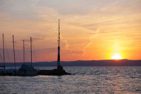 balaton: Sunset over Lake Balaton at Siofok, Hungary