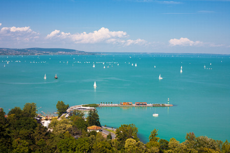 Lake Balaton with ships of Tihany, Hungary