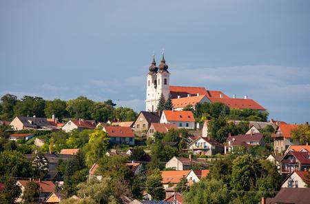 benedictine: Tihany village with the Benedictine Abbey Stock Photo
