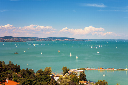 View of Lake Balaton with lots of sailboats from Tihany village in Hungary Stok Fotoğraf