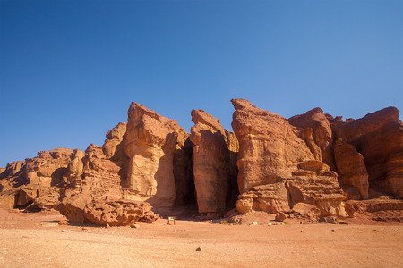 arava: The Solomons Pillars geological and historical place in Timna Park,  Israel. Stock Photo