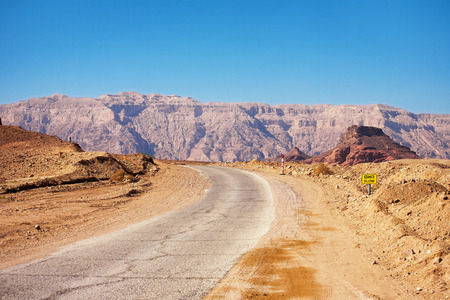 timna: Road running through Timna National Park in the Negev Desert near to Eilat in Israel.