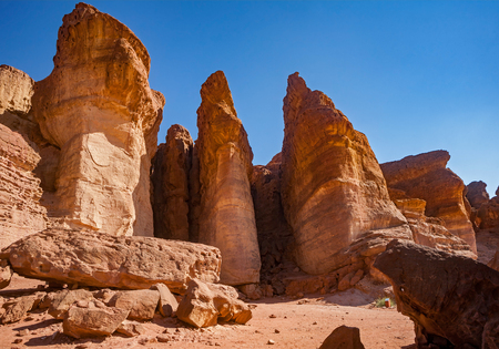 timna: The Solomons Pillars geological attraction in Timna Park near to Eilat, Israel. Stock Photo