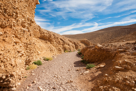 timna: Tourist path at Red Canyon, Israel Stock Photo