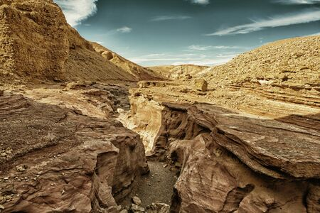 timna: The Red Canyon tourist attraction in  Israel (HDR image, black gold filter)