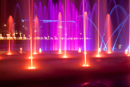 The light and music fountain in the night in Eilat, Israel Stock Photo