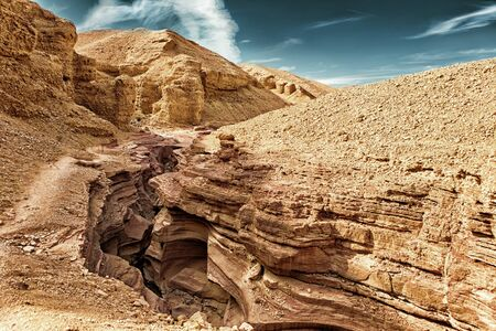 The Red Canyon tourist attraction in the Eilat Mountains, Israel (HDR image with Black Gold filter)
