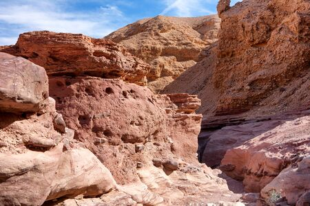 black giant mountain: Travel in Israel: Red Canyon, giant cliffs Stock Photo