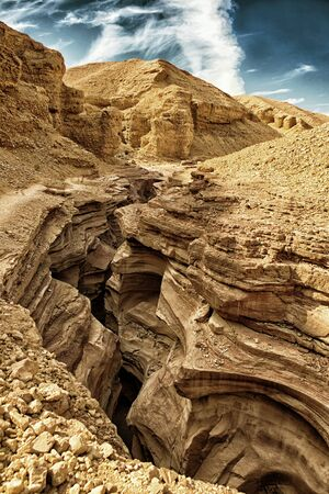 The Red Canyon in the Eilat Mountains, Israel (HDR image, black gold filter) Stock Photo