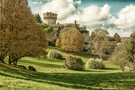Medici fortress with the park in Volterra in Tuscany, Italy (HDR image, black gold filter) Stock Photo