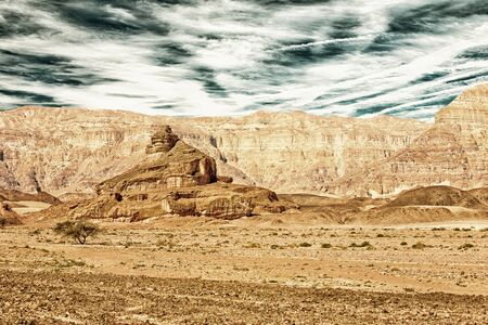 timna: The Spiral Hill - geological feature in Timna Park near to Eilat in Israel (HDR image with black gold filter)