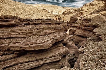 The Red Canyon in Israel (HDR image with black gold filter)