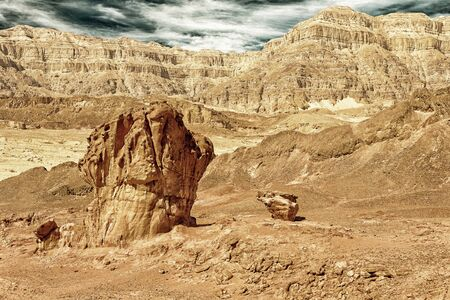 canyon negev: Sandstone tourist attracitons in Timna National Park, Israel (HDR image with black gold filter) Stock Photo