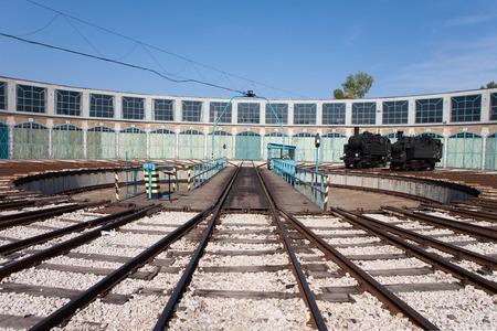 Old rail turntable Stock Photo