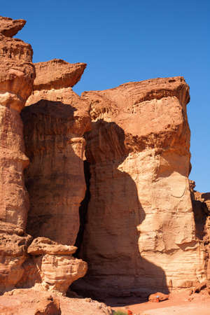 timna: Detail of the Solomons Pillars from Timna National Park, Israel