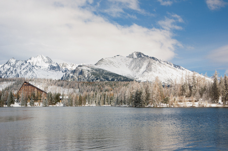 Strbske Pleso lake in winter in  High Tatras, Slovakia