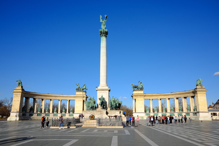 Budapest, Hungary, March 12, 2018: Heroes Square (Hosok Tere) with tourists in Budapest, Hungary