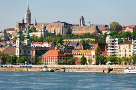 Buda Castle, FSt. Matthias church and Fishermen's Bastion viewed from Danube river Sajtókép